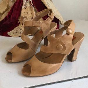 Miz Mooz Tan Peep Toe Button Leather Velcro  Heels